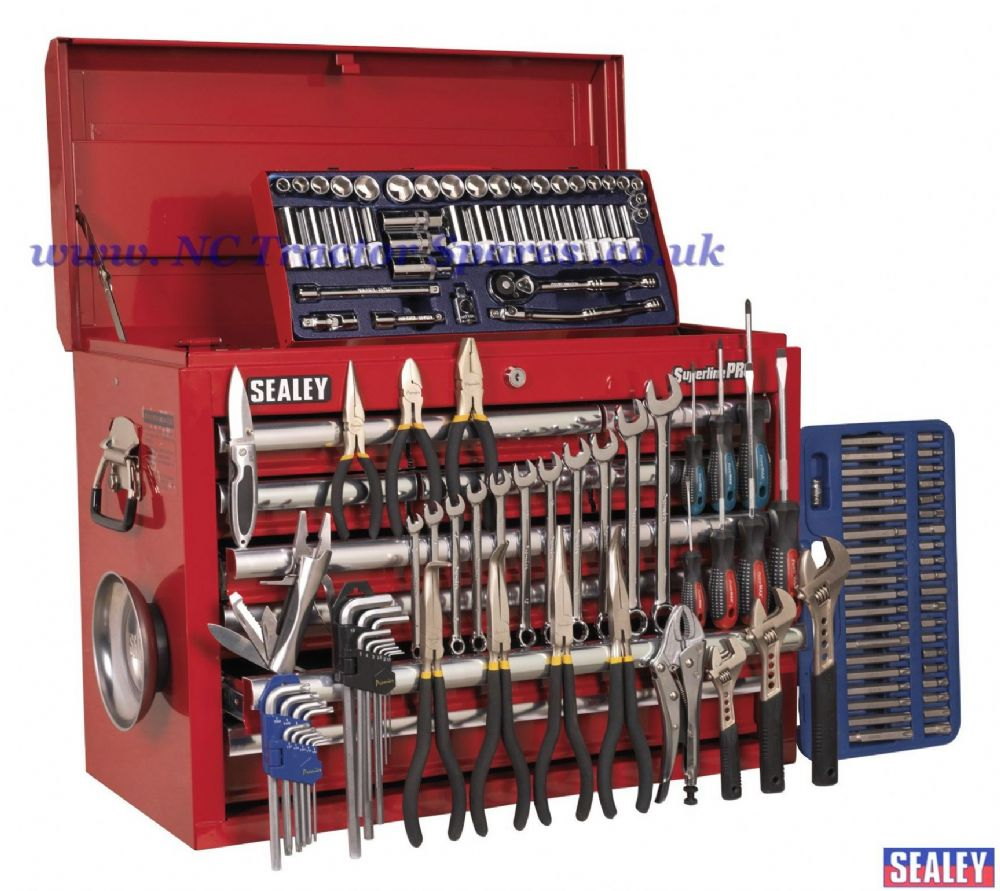 Topchest 10 Drawer with Ball Bearing Runners - Red & 137pc Tool Kit